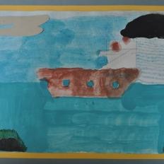 """"""" Ποσειδών"""". Ζωγραφική σε χαρτόνι με κηρομπογια και ακρυλικά χρώματα.Έργα από Λήπτες Υπηρεσιών Ψυχικής Υγείας , Δομή : Οικοτροφείο «ΙΠΠΟΚΡΑΤΗΣ ΙΙ», Κ.Σ.Δ.Ε.Ο. «ΕΔΡΑ»"""